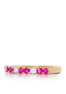 Belk & Co. Round Cut Rubies & Diamonds Ring Set in 14K Yellow Gold