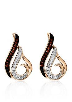 Belk & Co. 1/10 ct. t.w. Cognac Diamond Stud Earrings in 10k Rose Gold