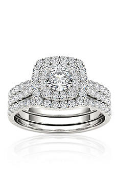 Belk & Co. 1 1/2 ct. t.w. Double Halo Engagement Ring Set with Two Bands in 10k White Gold