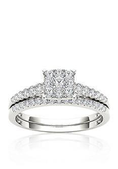 Belk & Co. 1/2 ct. t.w. Diamond Cluster Engagement Ring Set in 10k White Gold