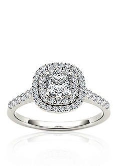 Belk & Co. 1 1/10 ct. t.w. Diamond Double Halo Engagement Ring in 14k White Gold