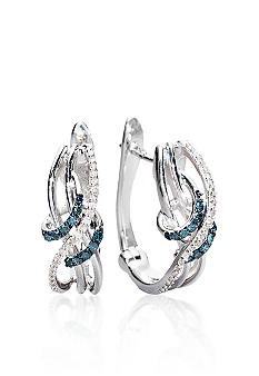 Belk & Co. Sterling Silver Blue & White Diamond Earrings