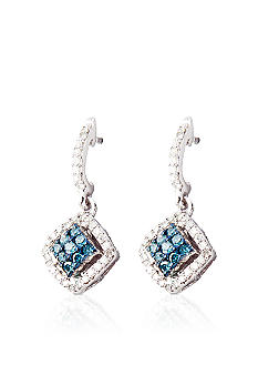 Belk & Co. Blue & White Diamond Earrings in Sterling Silver