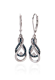 Belk & Co. Blue & White Diamond Drop Earrings in Sterling Silver