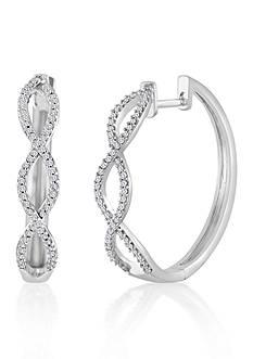 Belk & Co. Diamond Twist Hoop Earrings in Sterling Silver