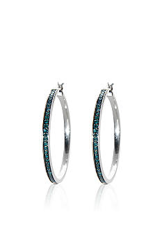Belk & Co. Sterling Silver Blue Diamond Hoop Earrings