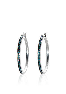 Belk & Co. Blue Diamond Hoop Earrings in Sterling Silver