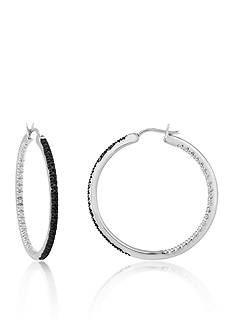 Belk & Co. Black & White Diamond Earrings in Sterling Silver