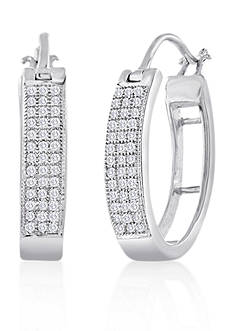 Belk & Co. Diamond Hoop Earrings in Sterling Silver