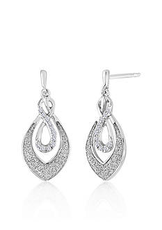 Belk & Co. Diamond Infinity Tear Drop Earrings in Sterling Silver