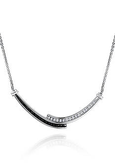 Belk & Co. Black and White Diamond Necklace in Sterling Silver
