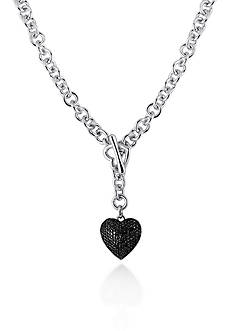 Belk & Co. Black Diamond Heart Pendant in Sterling Silver