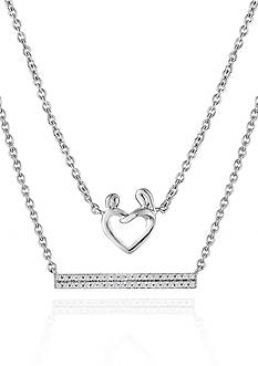 Belk & Co. 1/10 ct. t.w. Diamond Multi Layered Necklace Set In Sterling Silver