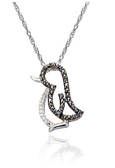 Belk & Co. Black & White Diamond Penguin Pendant in Sterling Silver