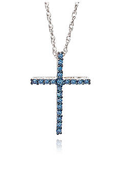 Belk & Co. Blue Diamond Cross Pendant in Sterling Silver