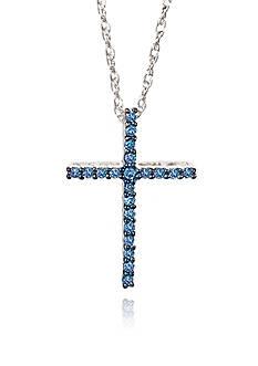 Belk & Co. Blue Diamond Cross Pendant in Sterling Silver