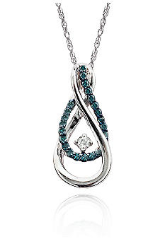 Belk & Co. 1/4 ct. t.w. Blue & White Diamond Drop Pendant in Sterling Silver