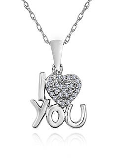 Belk & Co. Diamond I ♥ You Pendant in Sterling Silver