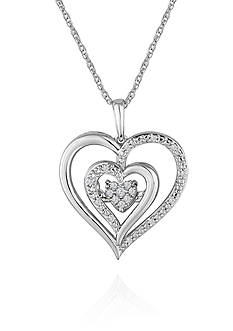Move My Heart Diamond Heart Pendant in Sterling Silver