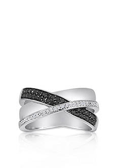 Belk & Co. Black and White Diamond Crossover Ring in Sterling Silver
