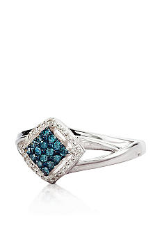 Belk & Co. Blue & White Diamond Ring in Sterling Silver
