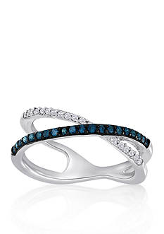 Belk & Co. Blue and White Diamond Crossover Ring in Sterling Silver