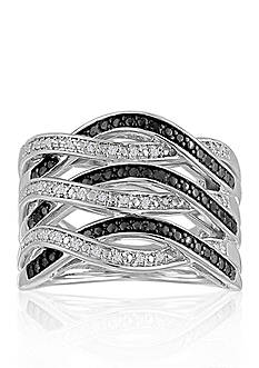 Belk & Co. 1/2 ct. t.w. Black & White Diamond Weave Ring set in Sterling Silver