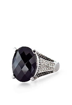 Belk & Co. Sterling Silver Onyx and Diamond Ring