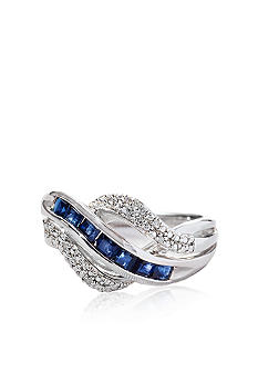Belk & Co. Sterling Silver Genuine Sapphire and Diamond Ring