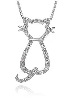 Belk & Co. Diamond Cat Silhouette Pendant in Sterling Silver