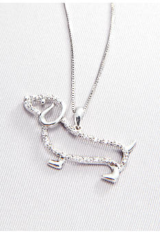 Belk & Co. Diamond Dachshund Pendant in Sterling Silver