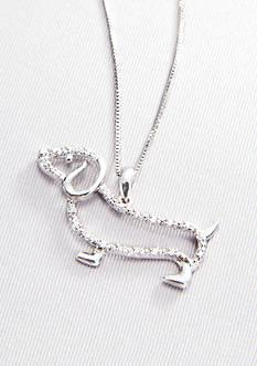 Belk & Co. Diamond Dachshund Pendant in Sterling Silver