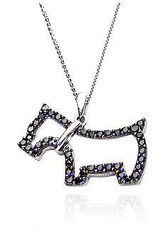 Belk & Co. Sterling Silver Black Diamond Dog Pendant