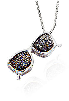 Belk & Co. Black Diamond Sunglasses Pendant in Sterling Silver
