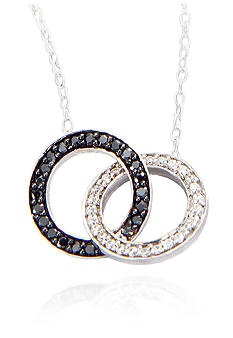 Belk & Co. Black & White Diamond Circle Pendant in Sterling Silver