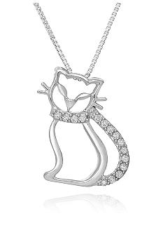 Belk & Co. Diamond Cat Pendant in Sterling Silver