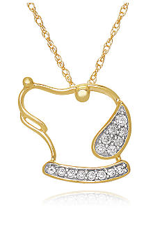 Belk & Co. Diamond Dog Silhouette Pendant in 10k Yellow Gold