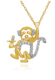 Belk & Co. Diamond Monkey Pendant in 10k Yellow Gold