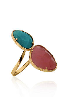 Belk & Co. 10k Yellow Gold Natural Turquoise and Guava Quartz Ring