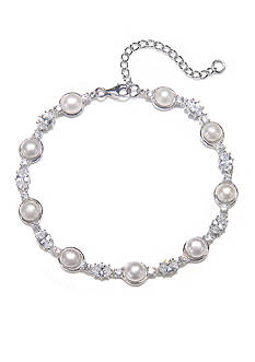 Belk & Co. Platinum Plated Sterling Silver Freshwater Pearl and Cubic Zirconia Bracelet