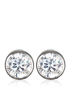 Belk & Co. Platinum Plated Sterling Silver Cubic Zirconia Bezel Set Stud Earrings