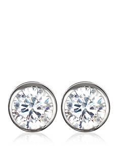 Belk & Co. Platinum Plated Sterling Silver Cubic Zirconia Bezel Set Stud Earrings