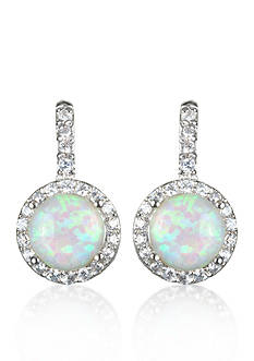 Belk & Co. Platinum-Plated Sterling Simulated White Opal and Cubic Zirconia Earrings