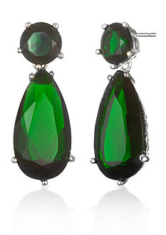 Belk & Co. Platinum-Plated Sterling Silver Simulated Emerald Earrings