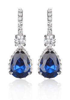 Belk & Co. Platinum-Plated Sterling Silver Synthetic Sapphire and Cubic Zirconia Earrings