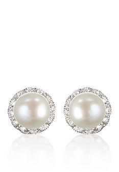 Belk & Co. Platinum Plated Sterling Silver Freshwater Pearl & Cubic Zirconia Earrings
