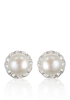 Belk & Co. Platinum Plated Sterling Silver Freshwater Pearl & Cubic Zirconia Earrings
