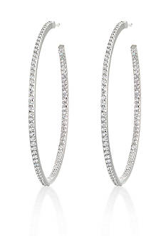Belk & Co. Platinum-Plated Sterling Silver Cubic Zirconia Hoop Earrings