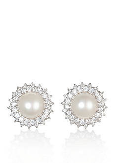 Belk & Co. Platinum-Plated Sterling Silver Freshwater Peal and Cubic Zirconia Earrings