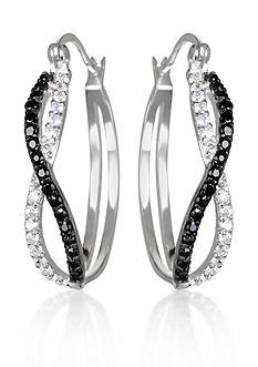 Belk & Co. Platinum Plated Sterling Silver Cubic Zirconia Hoop Earrings